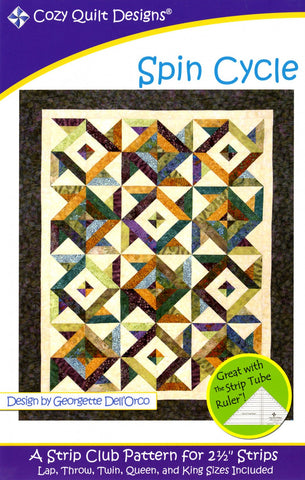 "Spin Cycle: A Strip Pattern for 2 1/2"" Strips by Cozy Quilt Designs # CQD01049"