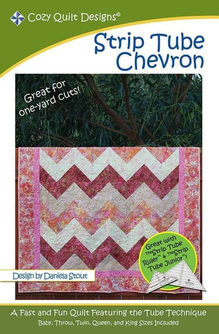 "Strip Tube Chevron, A 2 1/2"" Strip Pattern from Cozy Quilt Designs # CQD01085"