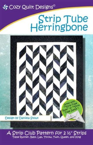 "Strip Tube Herringbone, A 2 1/2"" Strip Pattern from Cozy Quilt # CQD01122"