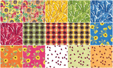 "Summer Sunshine Forty-two (42) 10 x 10"" 100% Cotton Squares Peg Conley TSQ0073"