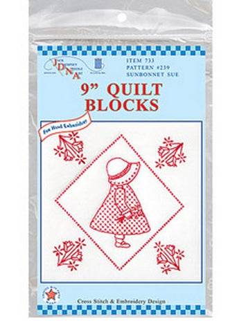 Sunbonnet Sue Quilt Blocks, pkg of 12 White, Jack Dempsey Embroidery #733-239