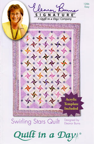 Swirling Stars Quilt in a Day pattern, Eleanor Burns, w/ Acrylic Template, EASY