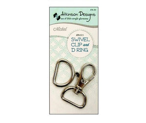 "3/4"" Swivel Clip and D Ring, Nickel, Atkinson Designs, Purse Hardware"