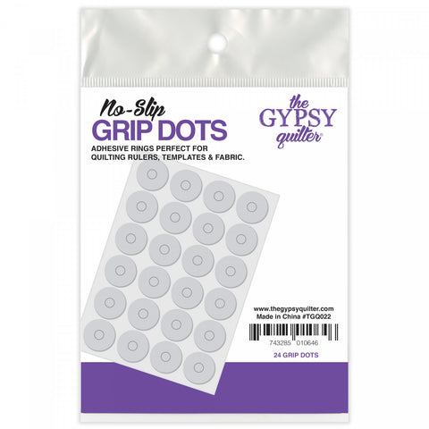 No-Slip Grip Dots by The Gypsy Quilter, 24 Adhesive Rings for Quilt Rulers, Templates, & Fabric