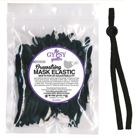 Drawstring Mask Elastic from The Gypsy Quilter, Black - 60 pieces - Sew In