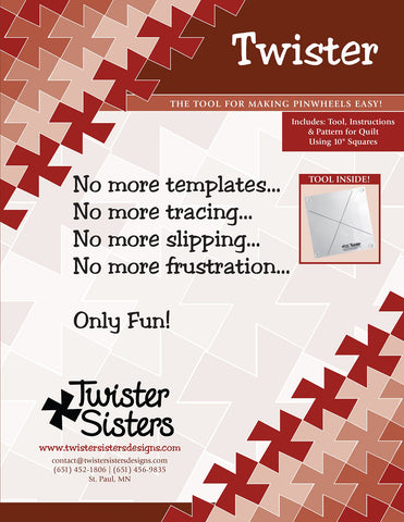 Twister, Tool Makes Pinwheels Easy!!  Quilt Ruler by Twister Sisters