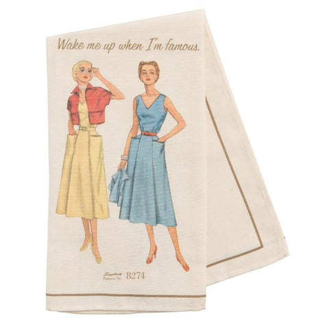 "Simplicity Vintage Tea Towel Pattern 8274 ""Wake me up when I'm famous."""