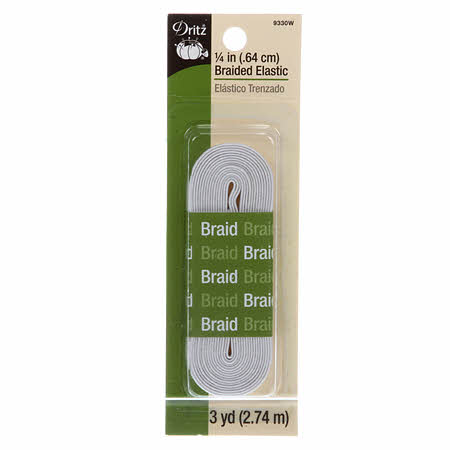 "1/4"" Braided Flat Elastic - 3 yards - Dritz 9330W White"