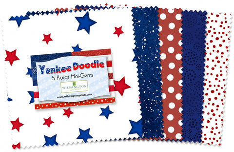 "Yankee Doodle 5 Karat Mini-Gems. 24-pieces 100% Cotton Q505-9-505 5"" Squares"