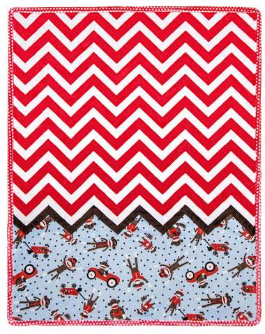 "Ziggy Sammie Cuddle Quilt Kit, 29"" x 35"" Shannon Fabrics, Sock Monkey"