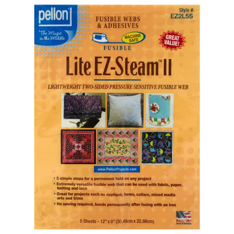 Lite EZ-Steam II, Two Sided Fusible Web for Applique, 5 Sheets, 9 x 12""