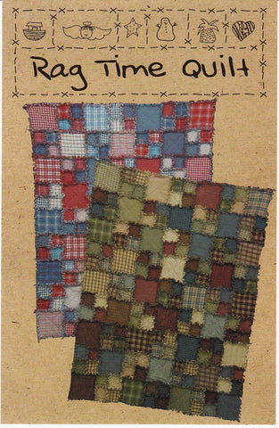 "Rag Time Quilt Pattern, 49 x 63"" Throw OR 63 x 77"" Large Throw"