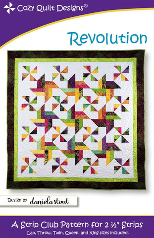 "Revolution quilt pattern for 2 1/2"" Strips from Cozy Quilt CQD01175"