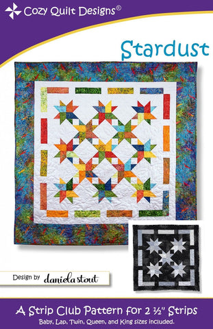 "Stardust quilt pattern for 2 1/2"" Strips from Cozy Quilt CQD01178"