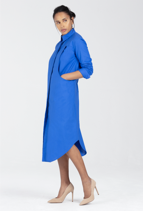 Breastfeeding Dress, Shirt Style in Blue - Emmeline by Sarka London - Front View