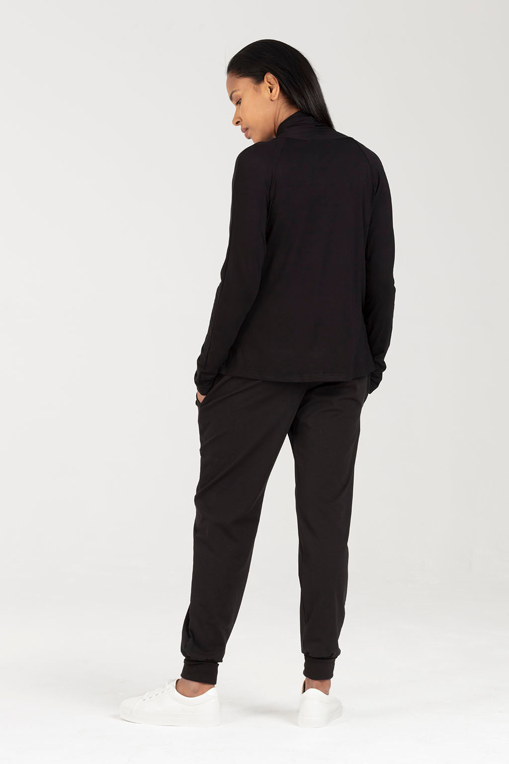 Postnatal Soft Trousers With Pockets - in Black - C Section Support | Ada by Sarka London - Back View