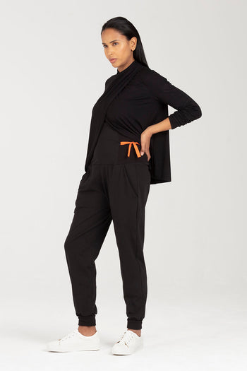 Postnatal Clothes - Trousers with Support - Adjustable Side Ties | Ada by Sarka London - Side View