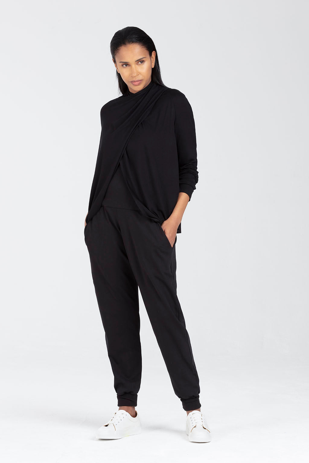 Postnatal C Section Trousers in Black | Ada by Sarka London - Front View