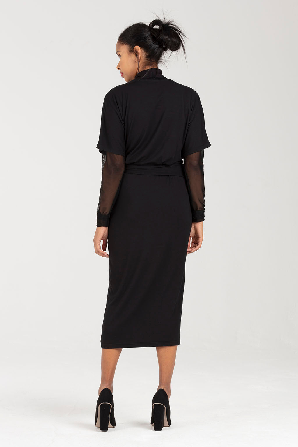 Black Nursing Dress with Adjustable Waist | Amelia by Sarka London - Back View