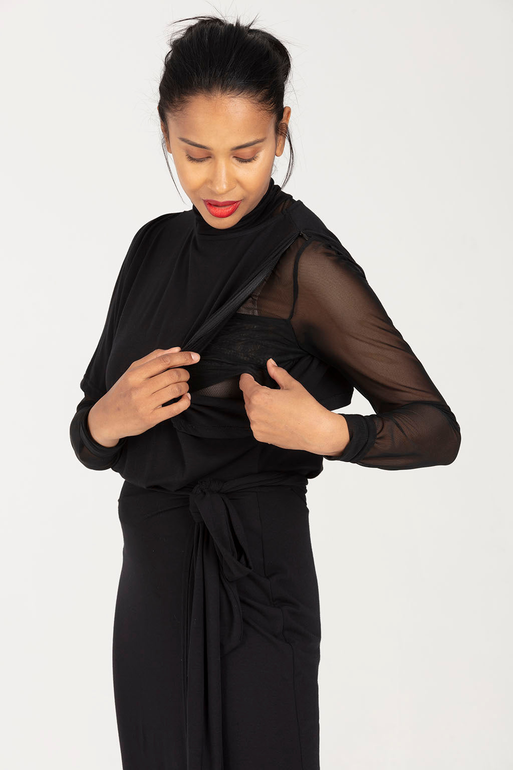 Nursing Dress, Occasion Wear in Black - Amelia by Sarka London - Breastfeeding access