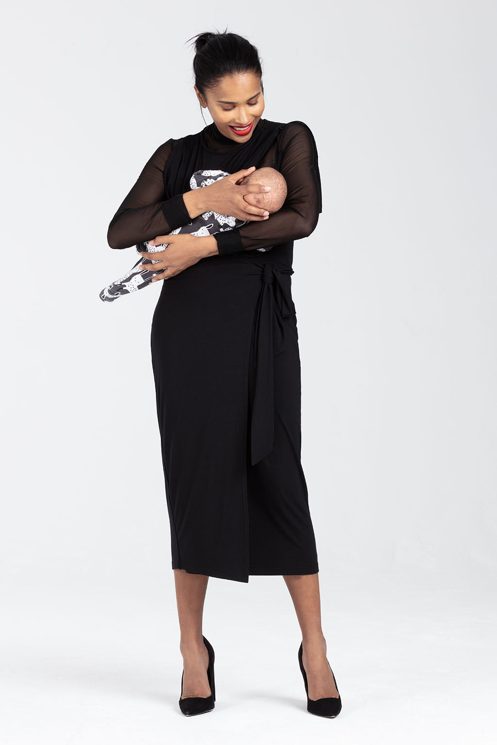 Smart Nursing Dress, Wrap Style in Black - Amelia by Sarka London - Breastfeeding access