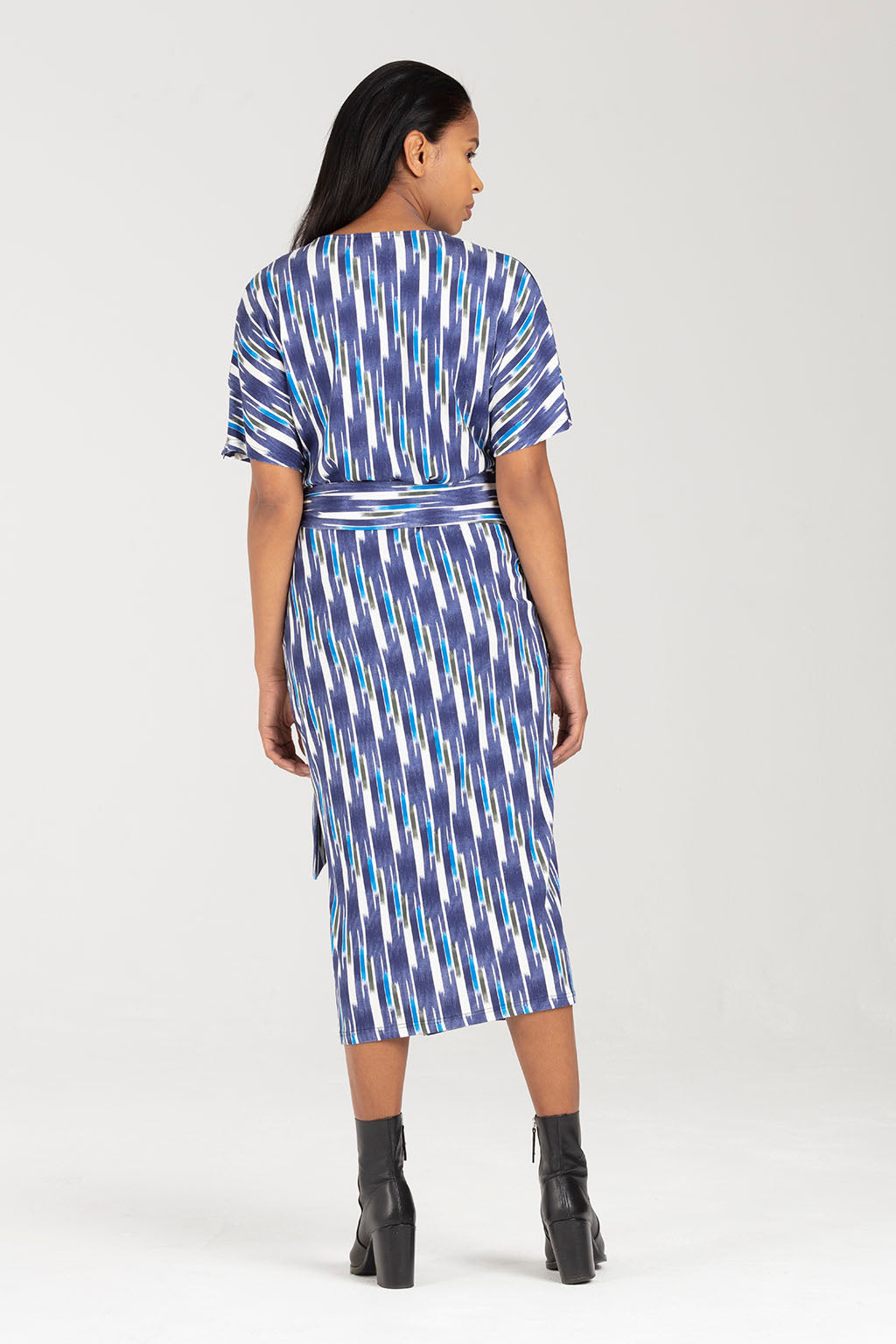 Breastfeeding Party Dress, Wrap Dress in Vertical Stripe - Amelia by Sarka London - Back view
