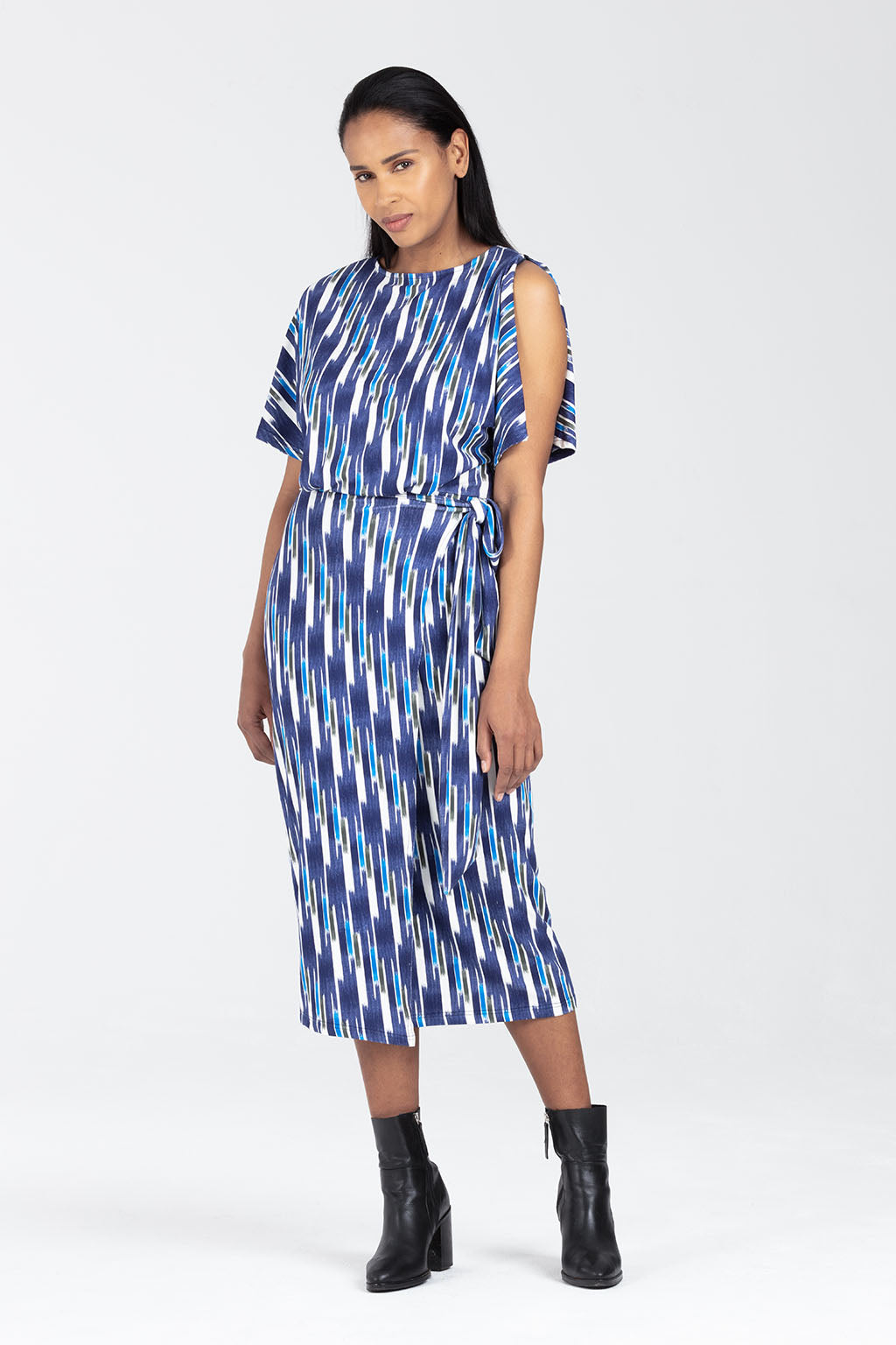 Breastfeeding Dress, Wrap Style in Verical Stripey - Amelia by Sarka London - Front View