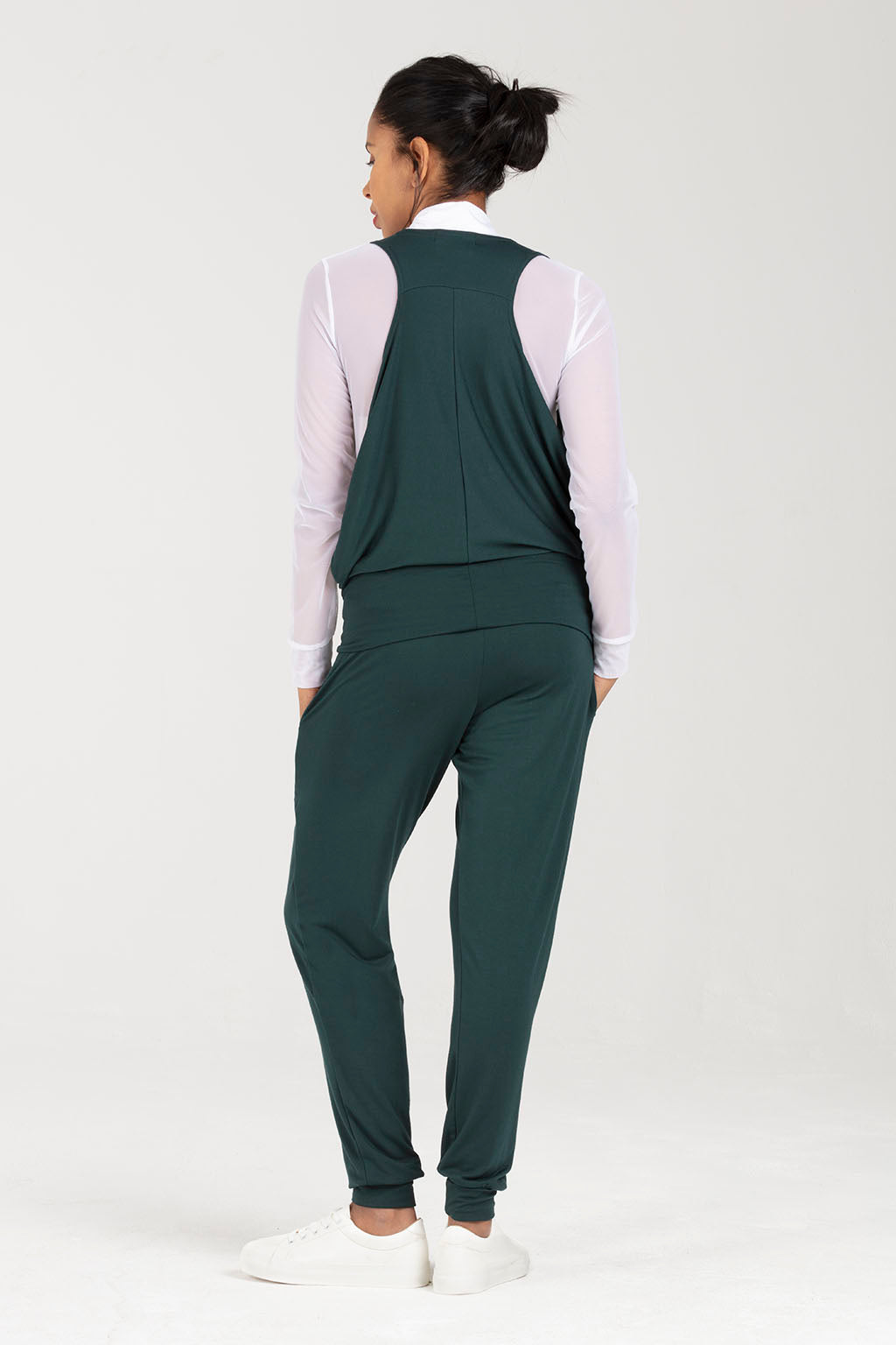 Postnatal Soft Trousers With Pockets - Joggers in Green - C Section Support | Bouddica by Sarka London - Back View