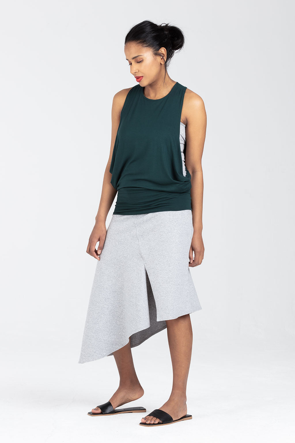Postnatal Clothes - Asymmetrical Skirt With Postnatal  Support - Adjustable Waist | Rosalind by Sarka London - Side View