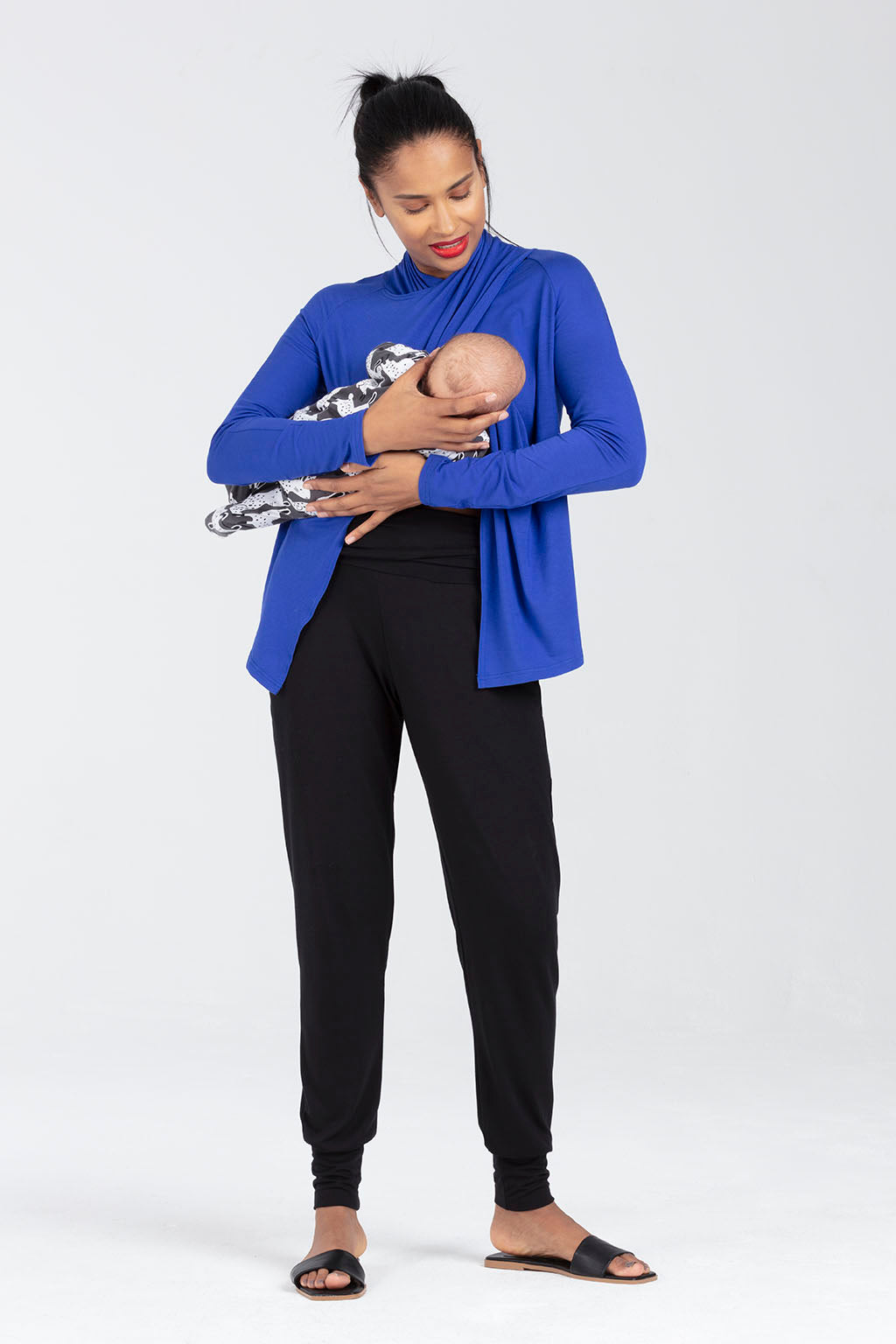 Long Sleeve Nursing Top in Blue - Breastfeeding access - Marie by Sarka London - Front View