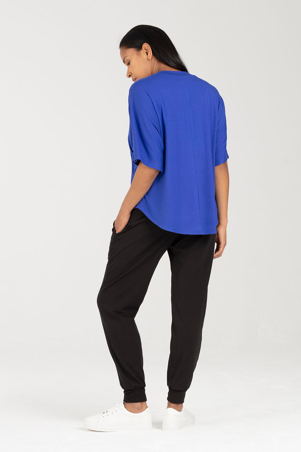Blue Soft Nursing Top, Easy Breastfeeding Access - Minerva by Sarka London - Back View
