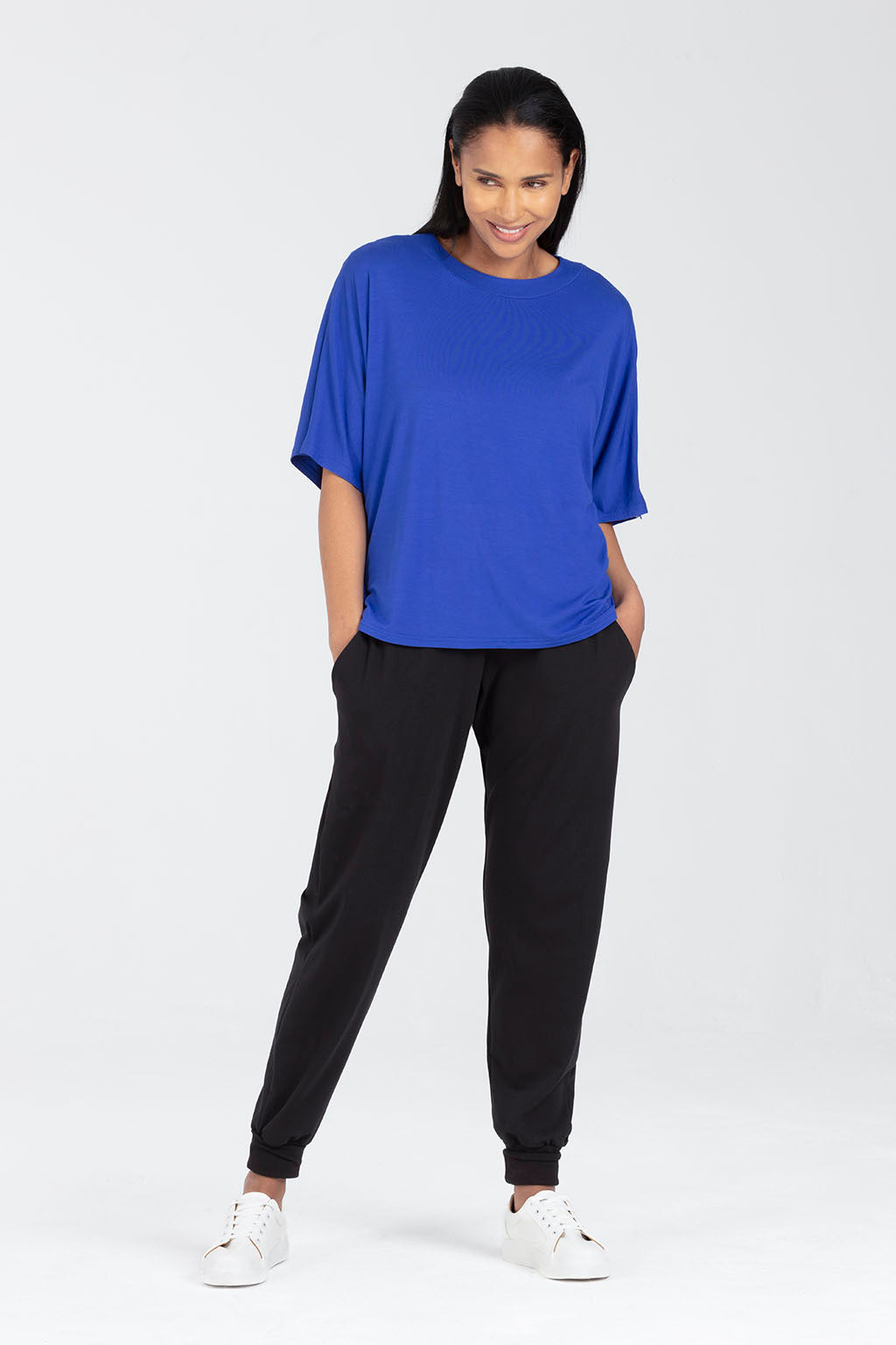 Breastfeeding Top, Nursing T-shirt in Blue - Minerva by Sarka London - Front View
