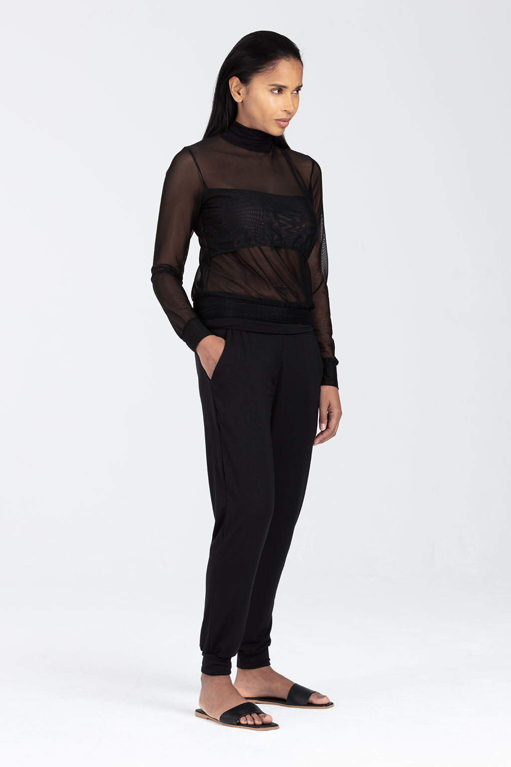 Breastfeeding Mesh Top in Black - Rosa by Sarka London - Front View