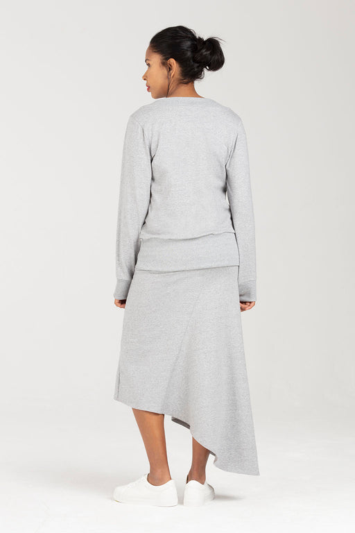 Postnatal Soft Skirt in Grey Marl - C Section Support | Rosalind by Sarka London - Back View
