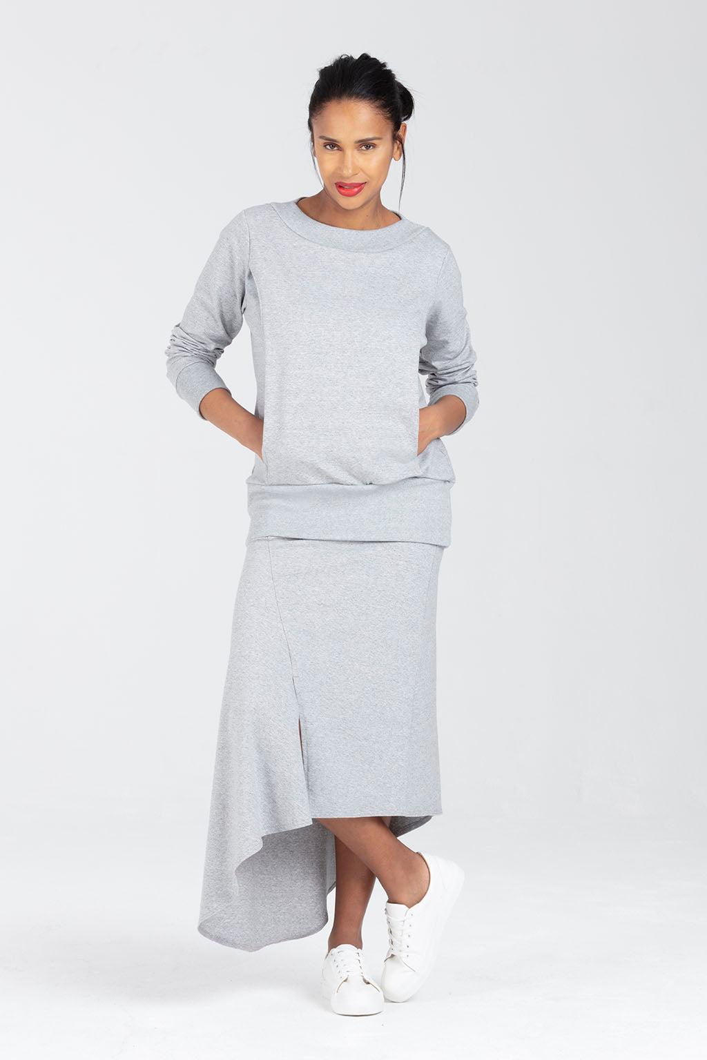 Soft Grey Postnatal C Section Skirt | Rosalind by Sarka London - Front View