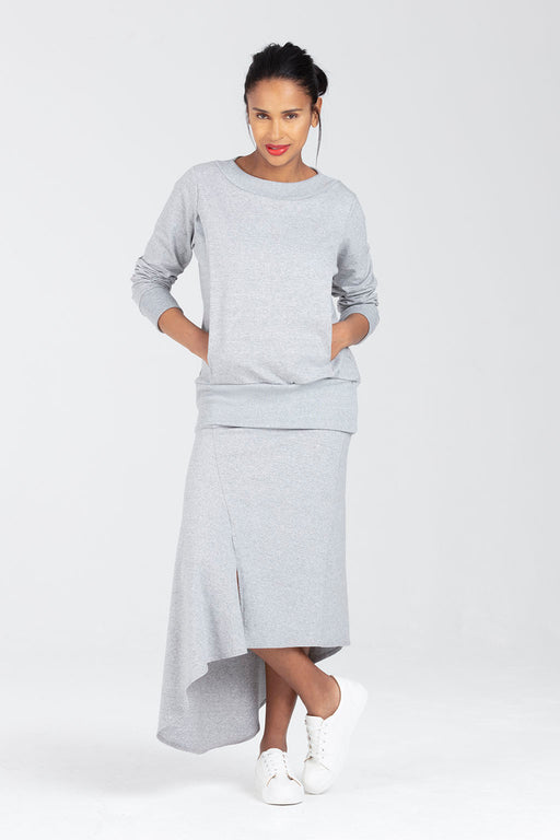 Grey Nursing Jumper With Waist Support Blue - Pair With Rosalind Skirt - Sulis by Sarka London - Full View