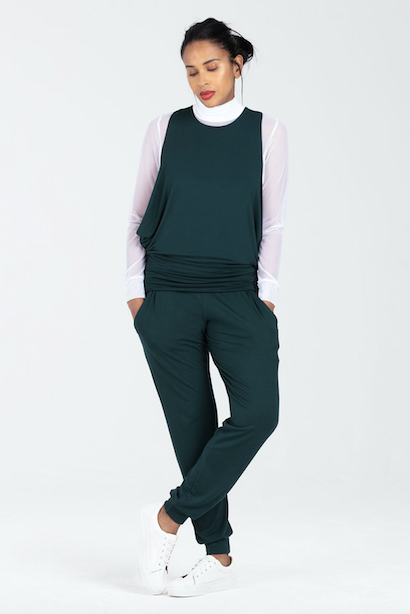 Soft Nursing Top in Green, Matching Joggers, C Section Support - Boudicca by Sarka London - Full View