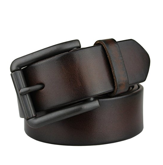 Men's Genuine Leather Belt Nickel Free Buckle (Coffee)