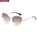 Rimless Clear Cat Eye Sunglasses