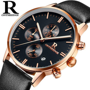 Men Leather  Sport Military Watch