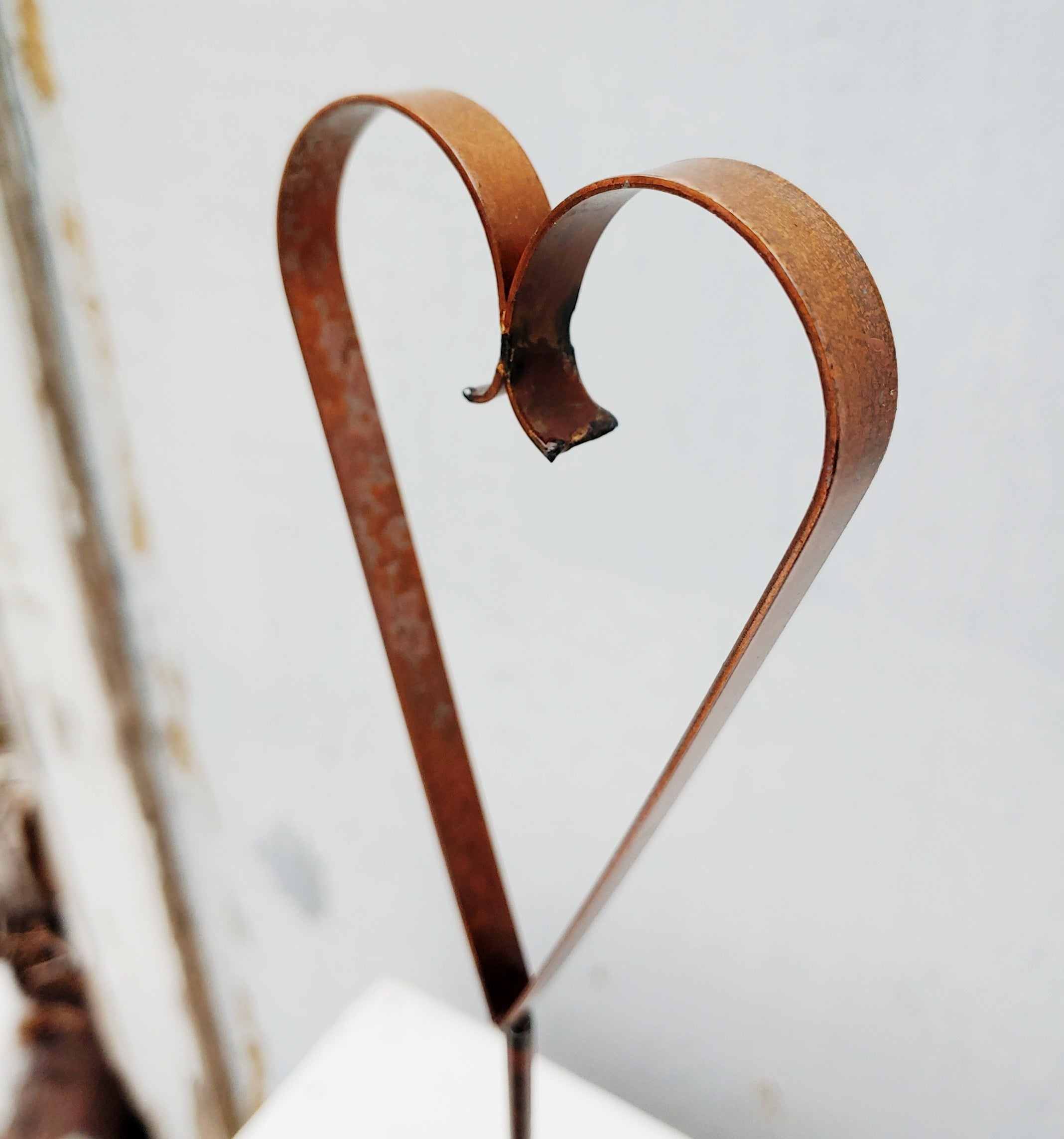 Steel Patina Heart on a Stand
