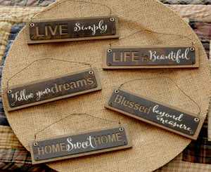 Rustic Tin Message Ornaments