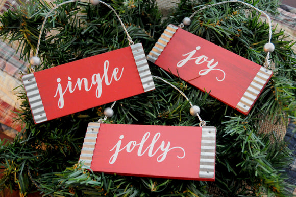 Jingle, Jolly, Joy Ornaments