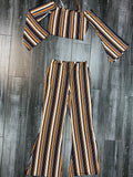 Mustard Striped Flare Pants Set