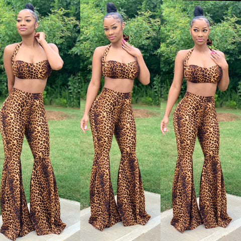 Leopard Print Bell Bottom Tube Set