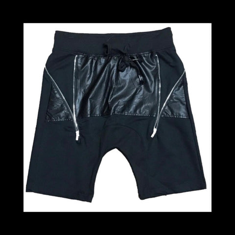 Mid Leather Zipper Shorts