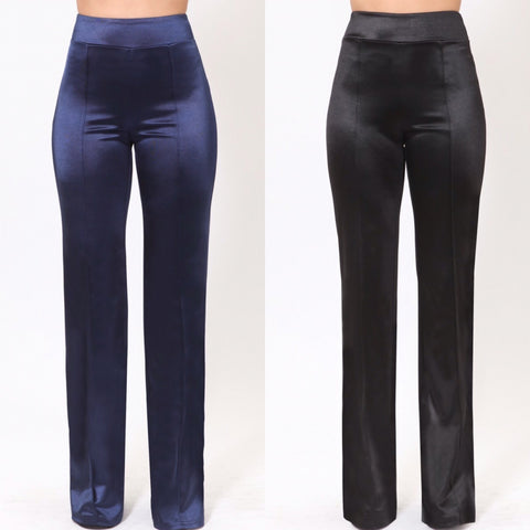 Satin Straight Leg Dress Pants