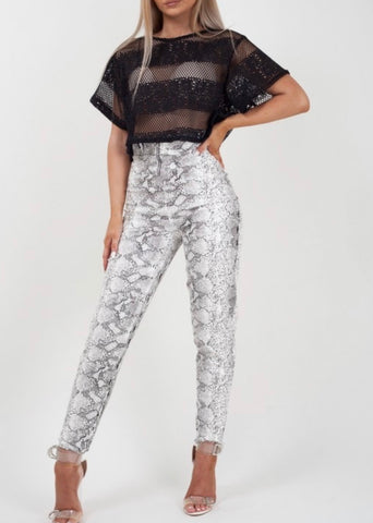 Snake Print Leather Jeggings