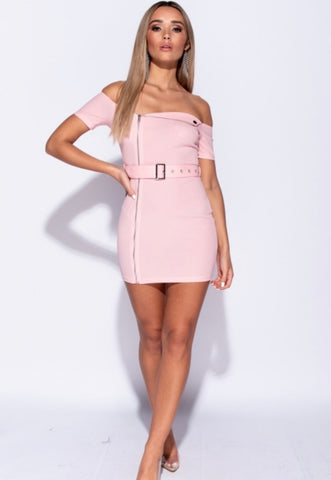 Belted Biker Dress