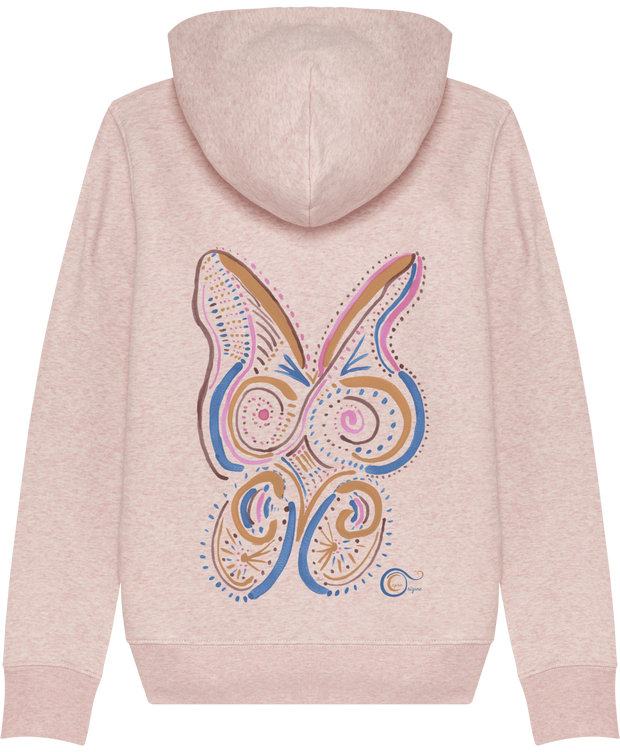 "Sweat-Shirt Bio Capuche Zip Femme, Crème chiné rose. Dos. Imprimé: ""Speedy Rabbit"", un design original signé Capra Origine."